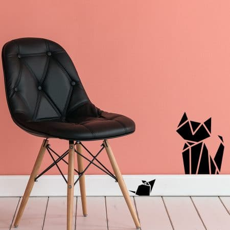 "Sticker Mural ""Chat et Souris en Origami"""