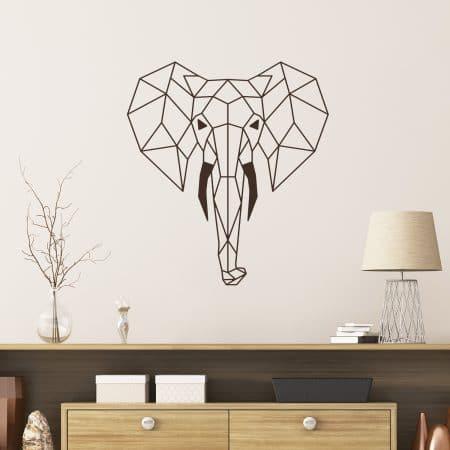 Sticker Mural d'une tête d'éléphant en origami