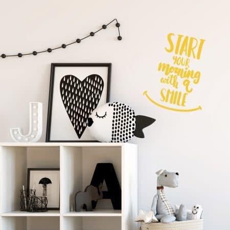 """Sticker Mural Bon Humeur """"Commence ta journée avec un sourire"""""""