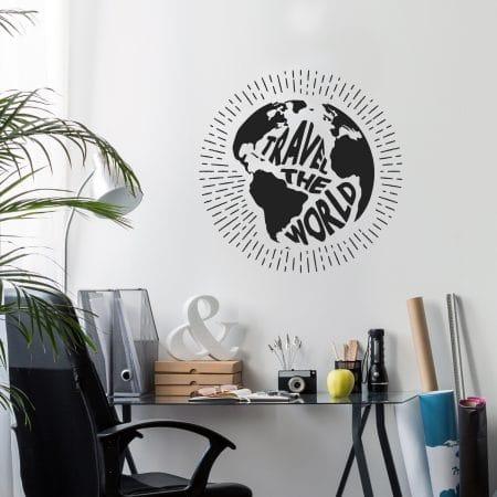 """Sticker Mural dans un bureau """"Voyager à travers le monde"""""""