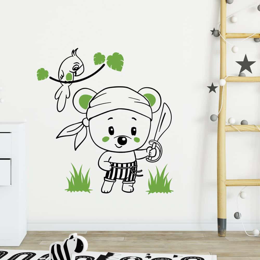 Stickers Muraux Chambre Bébé sticker ourson pirate bicolore
